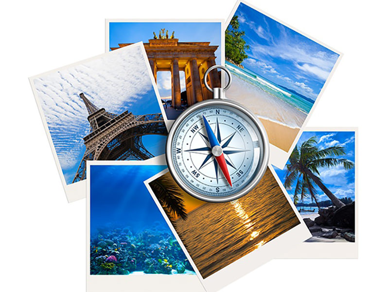 Symbols of popular travel destinations